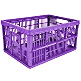 10 x 32L Plastic Folding Storage Container Basket Crate Box Stack Foldable Portable PURPLE