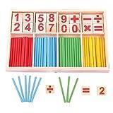 QianSheng Bâtonnets en bois colorés Bâtons de bâtons Jouets pédagogiques Manipulateurs de mathématiques Cartes et bâtons de comptage avec boîte pour enfants Tout-petits