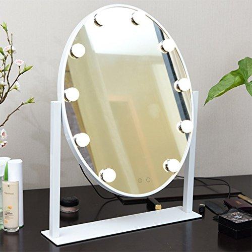 Spiegel - Make-up-Spiegel Oval Spiegel mit LED Desktop Lampe großer Touchscreen Dimmen Portable Dressing Silber Spiegel Single Side. ein- und ausklappbarer Spiegel Willkommen (Farbe: weiß) (White Single Kommode)