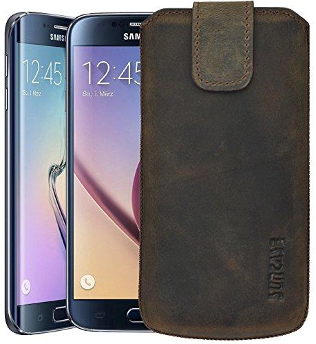 Samsung Galaxy S6 (SM-G920F) / Samsung Galaxy S6 Edge (SM-G925F) / Original Suncase® Tasche Leder Etui Handytasche Ledertasche Schutzhülle Case Hülle *mit Zieh-Lasche* antik-dark braun