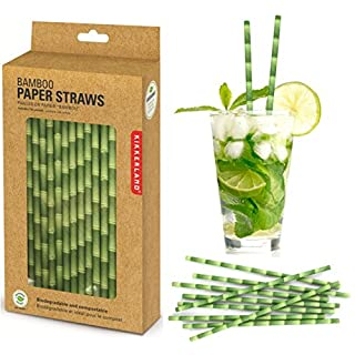 Öko Strohhalme aus Papier in Bambus Design - Babmus Trinkhalme Cocktailhalme Party Röhrchen im 144er Set