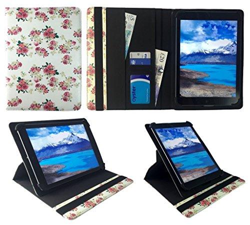 Sweet Tech Time2 2018 10.1 Zoll Tablet Floral Rose Garden Universal 360 Grad Wallet Schutzhülle Folio mit Kartensteckplätzen (9-10 Zoll