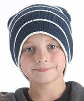 Kids Slouch Beanie Hat Navy & White Stripe GL085