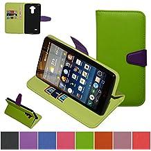 LG G4 Stylus Funda,Mama Mouth PU Cuero Billetera Cartera Monedero Con Soporte Funda Caso Case para LG G4 Stylus H635,Verde