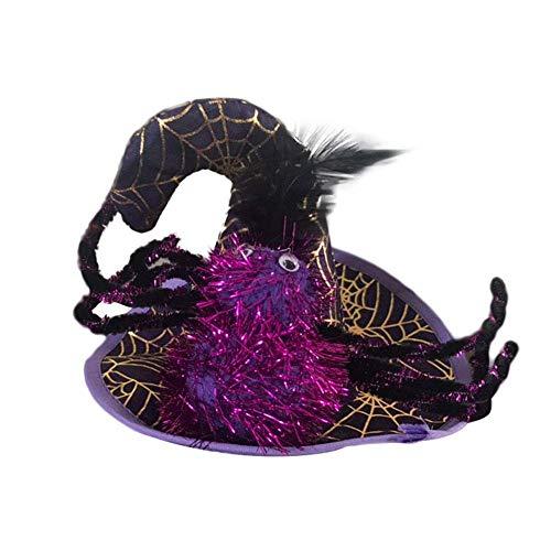 Aeromdale Haustier Kürbis Spinnenmütze Kopf trägen Halloween Wizard Hut für Katze und kleinen Hund Welpen für Party Kostüm Zubehör Wochenende Cosplay Geburtstag Halloween Weihnachten Geschenk
