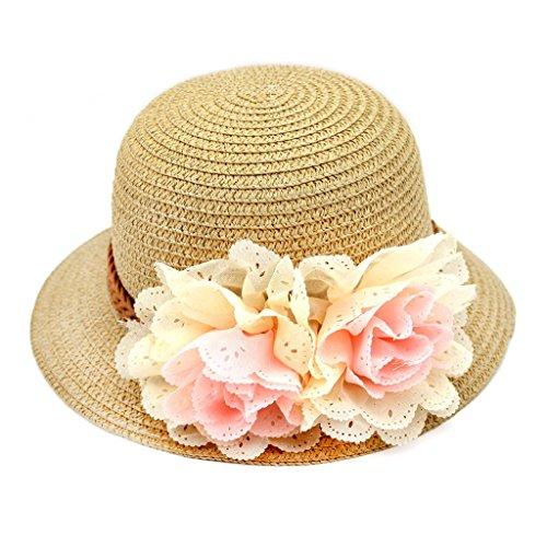 Küste Mädchen (HuntGold 1 X Modernes Mädchen Krempe Mütze Sommer Strand Küsten Schöne Blume Stroh Weben Sonnenhut (kaffee))
