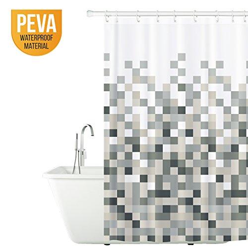 Tatkraft Mosaic | Rideau de douche étanche anti-moisissure et anti-bactérien | Rideau salle de bain avec 12 anneaux inclus | 2 aimants stop eau |Entretien facile | Dimensions : 180 x 180 cm