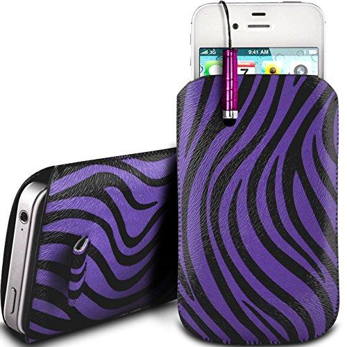 N4U Online - Nokia Lumia 920 PU Leder Schutz Zebra-Entwurf Zuglasche Cord Schlupf in Hülle Tasche mit Schnellspanner & Mini Stylus Pen - Lila