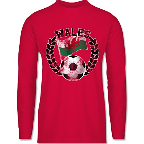 Shirtracer Fußball - Wales Flagge & Fußball Vintage - Herren Langarmshirt  Rot