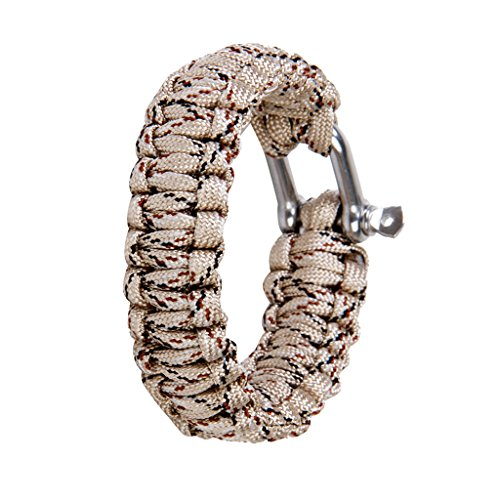 51w5fzPQUOL. SS500  - Paracord 550 Survival Bracelet with Stainless Steel U Shackle - Desert camo
