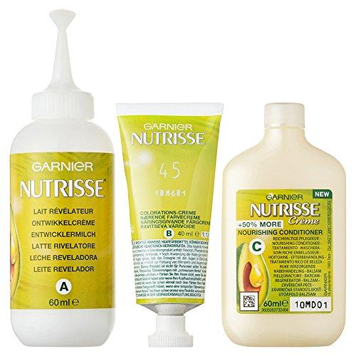 Garnier Nutrisse Creme Coloration Schoko-Braun 45, Färbung für Haare für permanente Haarfarbe (mit 3 nährenden Ölen) - 3er Pack (3 x 1 Stück)
