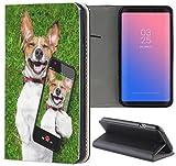 Samsung Galaxy Xcover 4 Hülle Premium Smart Einseitig Flipcover Hülle Galaxy Xcover 4 Flip Case Handyhülle Samsung Galaxy Xcover 4 Motiv (542 Crazy Dog/Hund mit Handy Grün Braun Weiß)