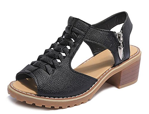 Fräulein Xia Ji Sandalen Frauen Reißverschluss Sandalen Studenten Sandalen und Pantoffeln Black