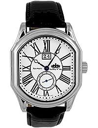 Lindberg & Sons Reloj automático para hombre con correa de piel color negro y de color blanco esfera analógica pantalla hq22022 W