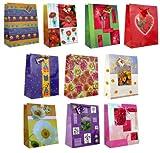 Taunus 99-9080 Lot de 10 sacs cadeaux 32 x 26 x 14 cm (Motifs fleurs) (Import Allemagne)