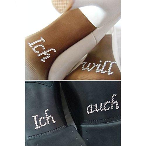 FLAIRELLE, Schuhsticker Set Ich will & Ich auch, Sticker aus Strass für die Brautschuhe, Strass-Sticker für das Brautpaar, Hochzeits-Accessoires, Sticker für 2 Paar Schuhe
