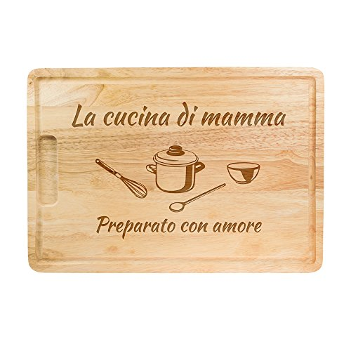 Tagliere in legno con incisione - la cucina di mamma - preparato con amore - legno di albero della gomma - idea regalo per la mamma - regalo per la festa della mamma - ca. 40,5 x 28,5 x 2 cm