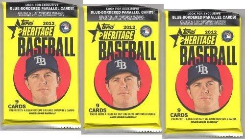 3PACK: Viel 2012Topps Heritage Baseball-Karten–FACTORY versiegelt (3–9Karten/-Pack) von - Baseball-karten Topps