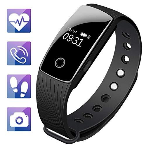 Fitness Tracker, Ip67 wasserdichte Aktivität Tracker mit Herzfrequenz-Monitor Schlafmonitor Kalorien Zähler Uhr, für Männer Frauen Jungen Mädchen,Black