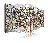 DEKOARTE 477 Cuadro Moderno en Lienzo, diseño Divertido Estilo arbol de la Vida, Multicolor, 5 piezas (150x80x3cm)