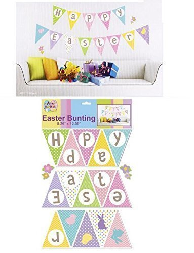 Easter Spring Party Banner Bunting Egg Chick Wall Sticker Room Decoration Fun Label 'Happy Easter' by Concept4u
