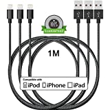 [Pack de 3]Câble iPhone 1M,ONSON® Câble Lightning vers USB de Nylon Tressé Connecteur en Aluminium Chargeur iPhone pour Apple iPhone 8/7/7 Plus/6S/6S Plus/6/6 Plus/5/5S/5C/SE,iPad Pro/Air/mini,iPod (Noir)