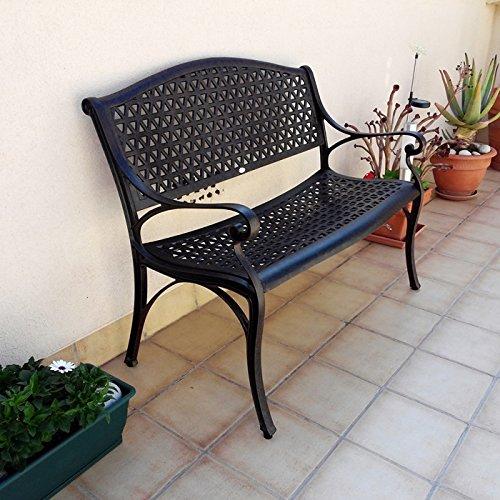 Lazy Susan – JULY Gartenbank und SANDRA Quadratischer Kaffeetisch – Gartenmöbel Set aus Metall, Antik Bronze - 3