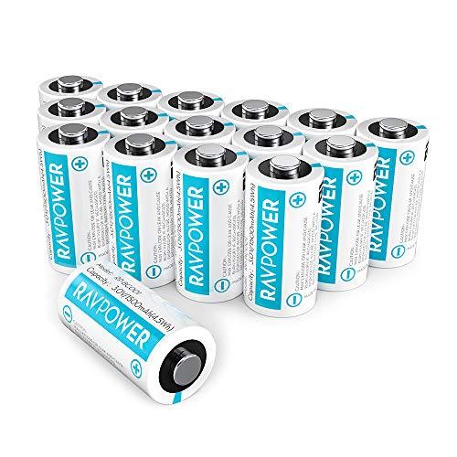 RAVPower CR123A 3 V Lithium-Batterien, 16er-Pack, 1500 mAh, Nicht wiederaufladbar, mit 10 Jahren Haltbarkeit, für Arlo Kameras, Polaroid, Taschenlampe und mehr, Weiß