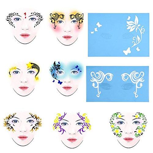 Delaman Gesichts Lack Stencil Wiederverwendbare Tätowierung Malerei Template Körper Kunst Blumen Gesichts Make-up Design Tools 7style / Set (Muster : ()