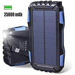 Chargeur solaire 25000mAh,batterie externe étanche grande capacité Elzle Power Bank avec double sortie USB 2.1A et lampe de poche LED pour IOS Samsung Galaxy Huawei