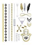 Flash Tattoo Metallic Temporary Einmal Klebe Tattoo Gold Pfeil Feder Love Schrift Armband Kette gold-silber-schwarz