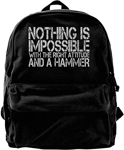 wergod Canvas Backpack Nothing is Impossible with The Right Attitude And A Hammer Rucksack Gym Hiking Laptop Shoulder Bag Daypack for Men Women