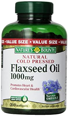 Natural Cold Pressed flaxseed Oil, 1000 mg, 200 Softgels by Nature's Bounty