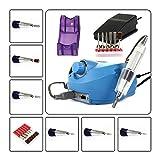 SymbolLife professioneller Nagelfräser elektrische Nagelfeile Nagelstudio-Set Maniküre Pediküre Set mit Fräser und Fußpedal, Blau