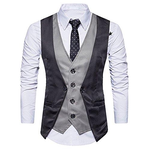 Precioul Anzug Weste Herren Slim Fit Anzugweste V- Ausschnitt Elegant Retro Business Hochzeit Freizeit Tweed Weste Herrenanzug Weste gefälschte Weste Tweed Topper