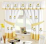 girasole giallo ricamato percalle cucina tenda mantovana 116,8x 121,9cm e 345,4x 25,4cm