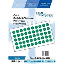 1000 Markierungspunkte, 8mm aus Papier, (Farbpunkte, farbige Klebepunkte), dunkelgrün von LabelOcean (R), LO-MPA-8-54-1000, Vielzwecketiketten