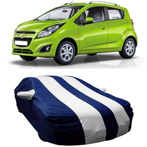 Dream Store Dream Store Persent Quality & Water Resistant Car Cover for Chevrolet Beat (Strips White with Mirror Pockets)