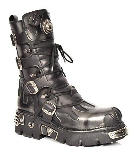 New Rock Schwarz Leder Stiefel Schnürsenkel Grau Flamme Entwurf Schuhe Rockstar Stil (EU (Flamme Schuhe)
