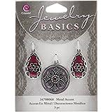 Jewelry Basics Metal Accents 3/Pkg-Silver/Purple Round/Teardrop