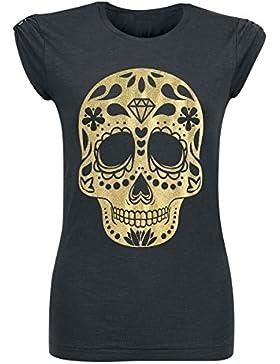 Skull Galaxy Gold Camiseta Mujer Negro