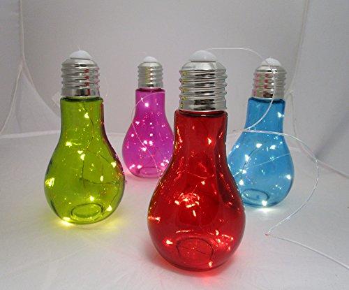 LED Lampion Höhe 18x9cm 4 Stück in 4-FARBEN Gartenlaterne Partylampion 260060/4