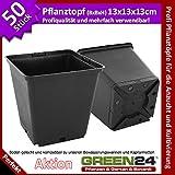 50 Stück Pflanztöpfe GREEN24 Pro als Vierecktopf 13x13x13 cm .