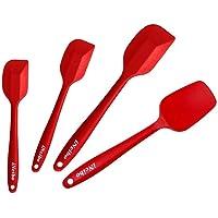 iNeibo Set de 4 Spatules Rouge en Silicone 100% Alimentaire résistant à la Chaleur