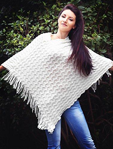 Frauen Kaschmir Poncho Strickjacke Strickpullover Mantel Schal Winter Pullover Oversize Schal Poncho mit Ärmeln in rot/grau von der Marke MyBeautyworld24 weiß