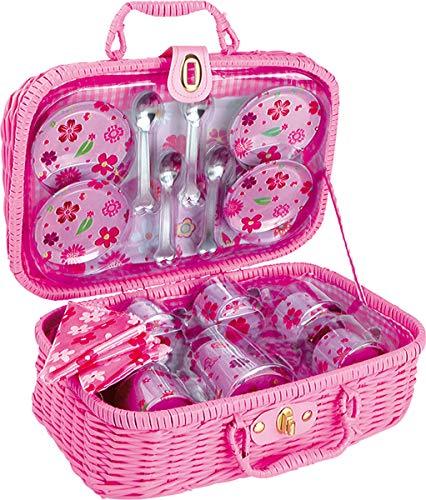 Small Foot 5316 Picknickkoffer rosa geflochten, Kindergeschirrset aus Metall mit Blumendekor, 21 Teile