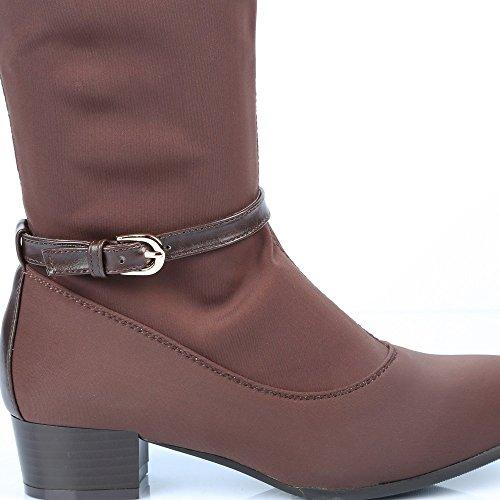 Ideal Shoes-Stiefel mit teilweis'elastischer und Benedita Knöchelriemchen Braun - braun