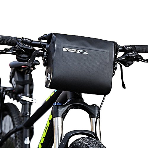 Intsun Waterproof 3L Bike Handlebar Bag Cycling Bicycle Mountain Road MTB Bike Handlebar Bag Front Top Frame Pouch PVC Tube bag Roll Top Closure Front Pannier Basket Bag