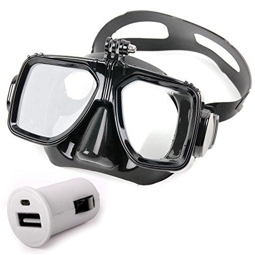Schnorchel- und Taucherbrille mit doppelter Silikonschicht und Halterung für Rollei Actioncam 430, Actioncam 425, Actioncam 415, Actioncam 330 und Actioncam 300 Plus - mit praktischem Auto-Ladegerät