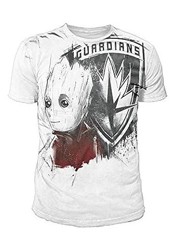 Guardians of the Galaxy Vol. 2 - Premium Herren T-Shirt - Groot Sublimation (Weiss) (S-XL) (L) (Herren Volles Logo T-shirt)